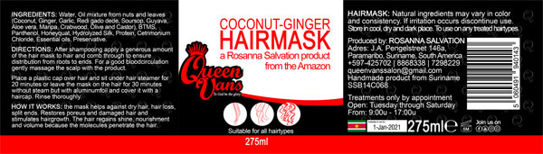 3a SSB14C068 5060491940143 Queen Vans Hairmask Coconut Ginger 275ml 225mmx60mm RGB 1200px