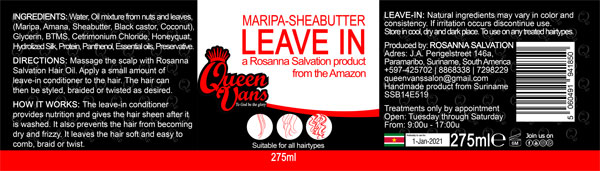 4g SSB14E519 5060491941850 Queen Vans Leave In Maripa Sheabutter 275ml 225mmx60mm RGB 1200px
