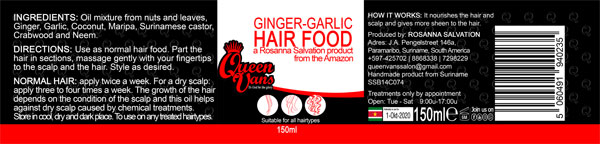 6d SSB14C074 5060491940235 Queen Vans Hair Food Ginger Garlic 150ml 185mmx40mm RGB 1200px